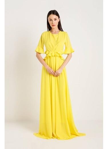 Rue Volanlı Uzun Elbise Sarı